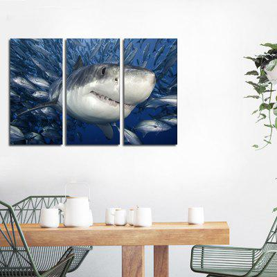 JOY ART Shark Printed Painting Canvas Print 3PCSPrints<br>JOY ART Shark Printed Painting Canvas Print 3PCS<br><br>Brand: JOY ART<br>Craft: Print<br>Form: Three Panels<br>Material: Canvas<br>Package Contents: 3 x Print<br>Package size (L x W x H): 62.00 x 8.00 x 32.00 cm / 24.41 x 3.15 x 12.6 inches<br>Package weight: 1.5000 kg<br>Painting: Include Inner Frame<br>Product weight: 1.3000 kg<br>Shape: Vertical<br>Style: Scenery / Landscape<br>Subjects: Animal<br>Suitable Space: Dining Room,Hallway,Kids Room