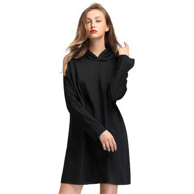 Hoodie Type Long Sleeve Off-shoulder Cotton Female Dress