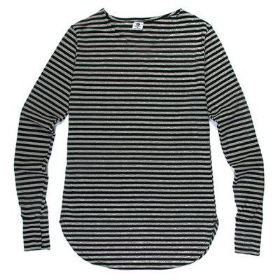 HZIJUE Male Casual Loose Striped Long Sleeve T-shirt