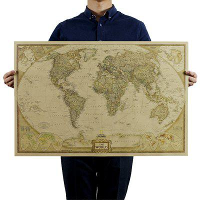Kraft paper world map poster decorative wall sticker 72 x 47cm kraft paper world map poster decorative wall sticker gumiabroncs Image collections