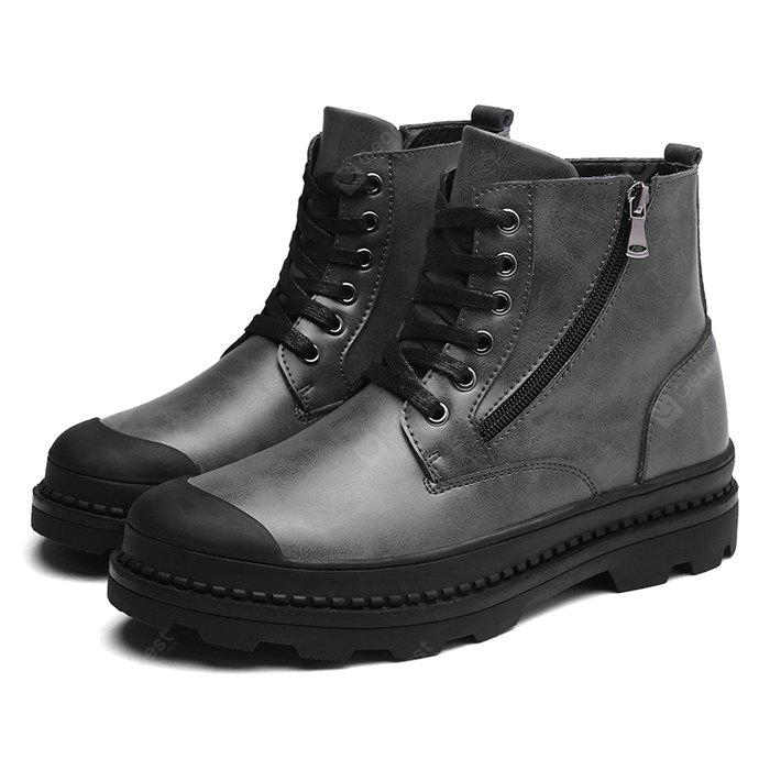 GRAY 38 Male Trendy Soft Thick Soled Casual High Top Martin Boots