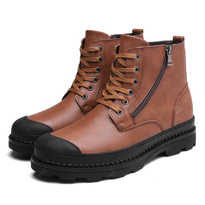 BROWN 38 Male Trendy Soft Thick Soled Casual High Top Martin Boots