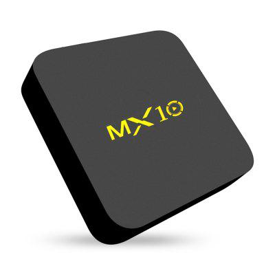 MX10 TV BoxTV Box<br>MX10 TV Box<br><br>Audio format: FLAC, WAV, WMA, MP3, HD, AAC, APE, DDP, OGG<br>Bluetooth: Bluetooth4.0<br>Core: Quad Core<br>CPU: ARM Cortex-A53<br>Decoder Format: H.263, HD MPEG4, H.265, H.264<br>DVD Support: No<br>External Subtitle Supported: No<br>GPU: Mali-450<br>HDMI Version: 2.0<br>Interface: AV, HDMI, LAN, SPDIF, USB2.0, DC Power Port, USB3.0<br>Language: English,Italian,Multi-language,Spanish<br>Max. Extended Capacity: 128G<br>Model: MX10<br>Other Functions: 3D Games, 3D Video, DLNA, Miracast<br>Package Contents: 1 x TV Box, 1 x HDMI Cable, 1 x Power Adapter, 1 x Remote Control, 1 x English User Manual<br>Package size (L x W x H): 20.80 x 14.00 x 6.60 cm / 8.19 x 5.51 x 2.6 inches<br>Package weight: 0.4500 kg<br>Photo Format: JPEG, BMP, GIF, TIFF, PNG<br>Power Supply: Charge Adapter<br>Power Type: Digital Power Supply<br>Processor: RK3328<br>Product size (L x W x H): 11.50 x 11.50 x 2.50 cm / 4.53 x 4.53 x 0.98 inches<br>Product weight: 0.2000 kg<br>RAM: 4G RAM<br>RAM Type: DDR3<br>ROM: 32G ROM<br>Support 5.1 Surround Sound Output: Yes<br>System Bit: 64Bit<br>Type: TV Box<br>Video format: 1080P, VP9, VP8, VP6, VC-1, MPEG4, MPEG2, 4K, MPEG1<br>WiFi Chip: R8723