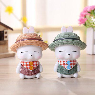 Rabbit Pattern Gift Home Ornament Figurines 2pcs