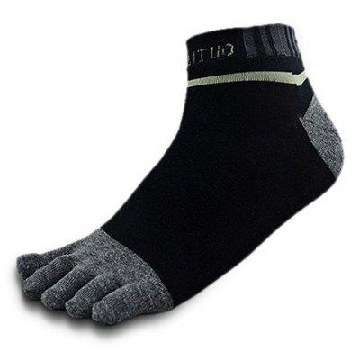 Letter Stripe Sweat Absorption Toe Crew Socks for Men