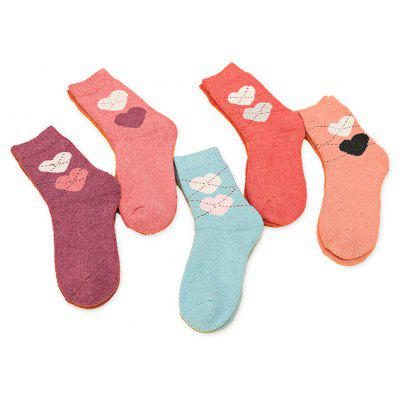 Female 5-pack Soft Thick Warmest Heart Dotted Line Socks