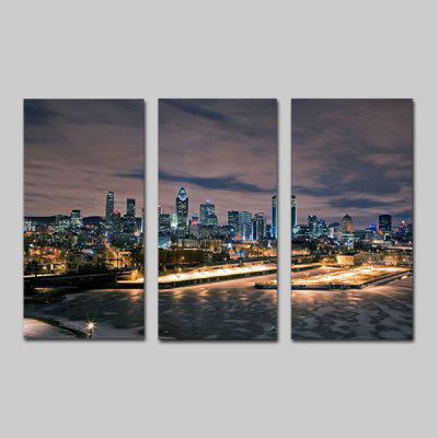 Buy COLORMIX JOY ART Hanging Print City Nightscape Framed Artwork 3PCS for $44.23 in GearBest store