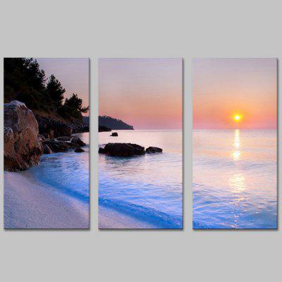 Buy COLORMIX JOY ART Hanging Print Seaside Sunset Framed Artwork 3PCS for $44.23 in GearBest store
