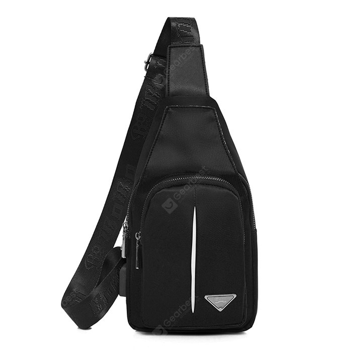 Men Casual Nylon Shoulder Bag with USB Port