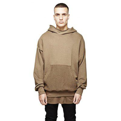 HZIJUE Male Loose Pure Color Casual Long Sleeve Hoodie
