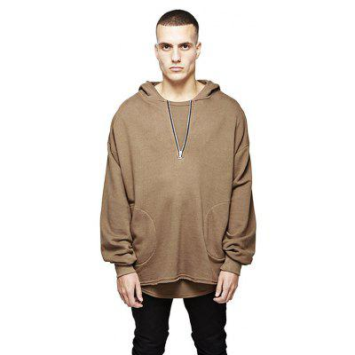 HZIJUE Male Simple Handsome Loose Pure Color Hoodie