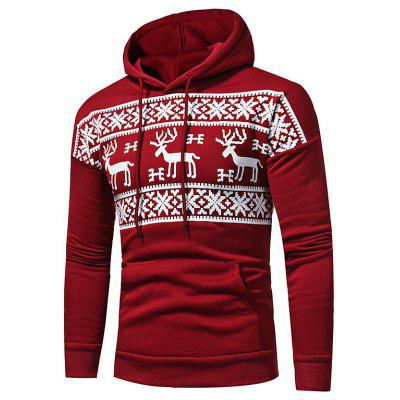 Male Casual Fashion Fawn Printing Hoodie