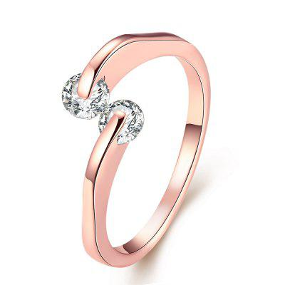 Buy ROSE GOLD 8 Creative Rose Golden Color Female Zircon Ring for $4.08 in GearBest store