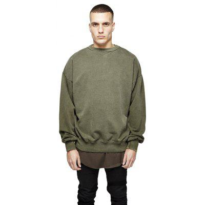 Buy ARMY GREEN L HZIJUE Cotton Loose Sweatshirts for Men for $33.69 in GearBest store