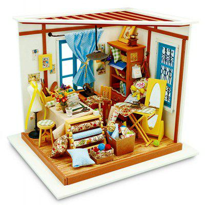 ROBOTIME 3D Wooden DIY Miniature Dollhouse Sewing Room