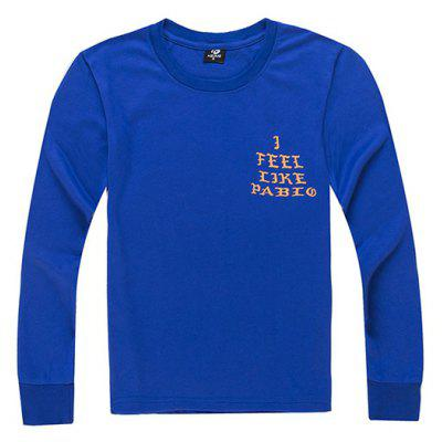 HZIJUE Male Pure Color Letter Printing Long Sleeve T-shirt