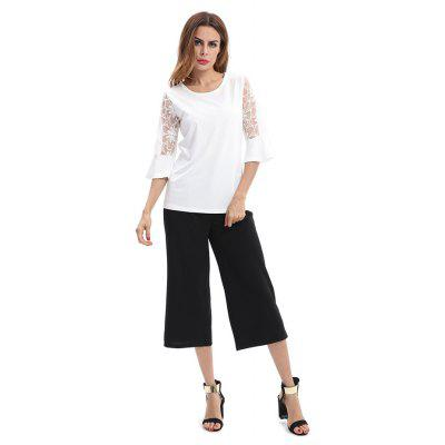 Jointed Crochet Half Sleeves T-shirtTees<br>Jointed Crochet Half Sleeves T-shirt<br><br>Collar: Round Neck<br>Embellishment: Lace<br>Material: Cotton, Spandex<br>Package Contents: 1 x T-Shirt<br>Package size: 35.00 x 30.00 x 2.00 cm / 13.78 x 11.81 x 0.79 inches<br>Package weight: 0.4200 kg<br>Pattern Type: Solid Color<br>Product weight: 0.4000 kg<br>Sleeve Length: Half Sleeves
