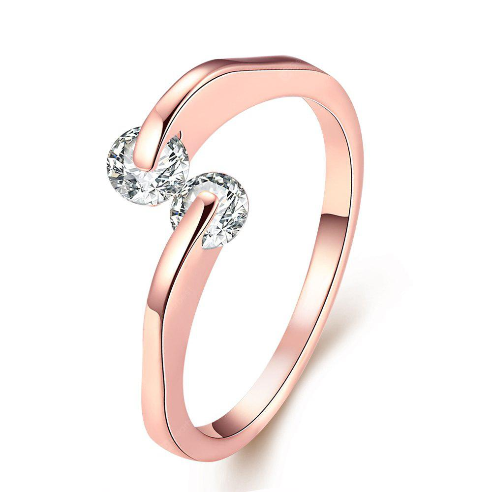 ROSE GOLD 8 Creative Rose Golden Color Female Zircon Ring
