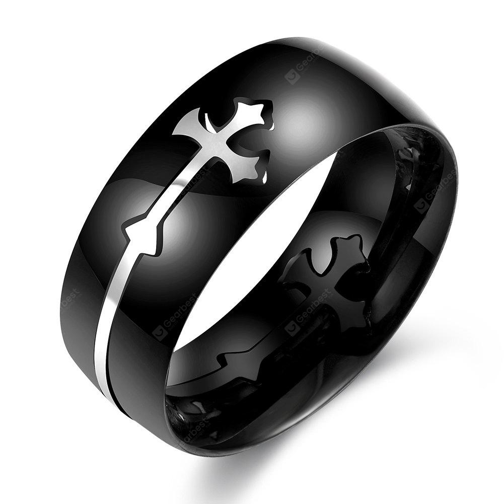 Chic Removable Stainless Steel Cross Male Ring