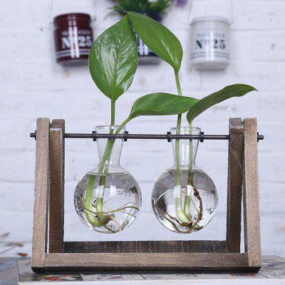 Two Transparent Glass Vases with Wooden Tray Home Decor