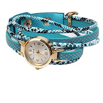 Trendy Women PU Strap Bracelet Wrist Quartz Watch