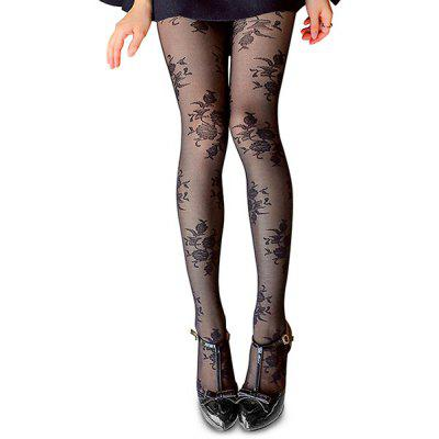 Female Unique Charming Silky Tights Stereo Rose Hosiery