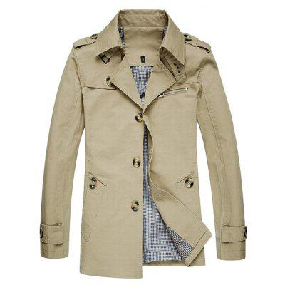 Jeep Rich Male Cotton Pure Color Stand-up Collar Jacket
