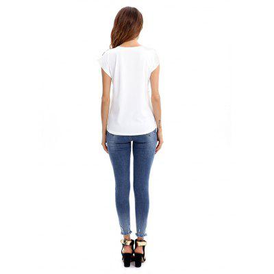 Slim Fit Print Round Neck Female T-shirtTees<br>Slim Fit Print Round Neck Female T-shirt<br><br>Clothing Length: Regular<br>Package Contents: 1 x T-shirt<br>Package size: 35.00 x 30.00 x 2.00 cm / 13.78 x 11.81 x 0.79 inches<br>Package weight: 0.4000 kg<br>Product weight: 0.3500 kg<br>Season: Summer<br>Style: Casual, Fashion