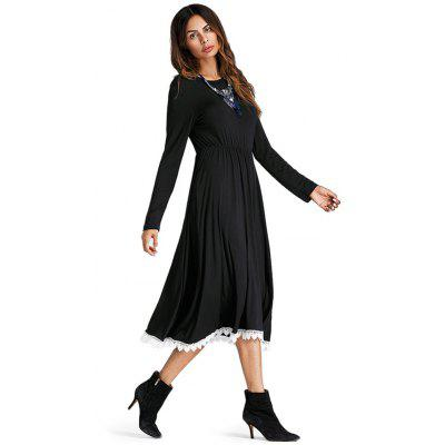 Tunic Waist Long-sleeved Lace Trimmed DressLong Sleeve Dresses<br>Tunic Waist Long-sleeved Lace Trimmed Dress<br><br>Dresses Length: Knee-Length<br>Material: Cotton, Polyester<br>Neckline: Round Collar<br>Package Contents: 1 x Dress<br>Package size: 36.00 x 28.00 x 2.50 cm / 14.17 x 11.02 x 0.98 inches<br>Package weight: 0.4700 kg<br>Pattern Type: Solid Color<br>Product weight: 0.4500 kg<br>Season: Fall, Spring<br>Silhouette: A-Line<br>Sleeve Length: Long Sleeves<br>Style: Fashion<br>Waist: Natural<br>With Belt: No