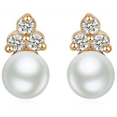 SS SH-STAR HARVEST JEWELRY J - 0073E Women Sterling Silver Simple Pearl Pendant Eardrop Earring