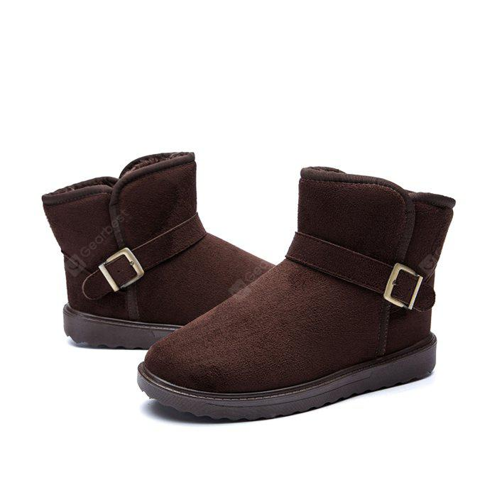 DEEP BROWN 39 Male Classic Warmest Ankle Top Snow Buckle Decorative Boots