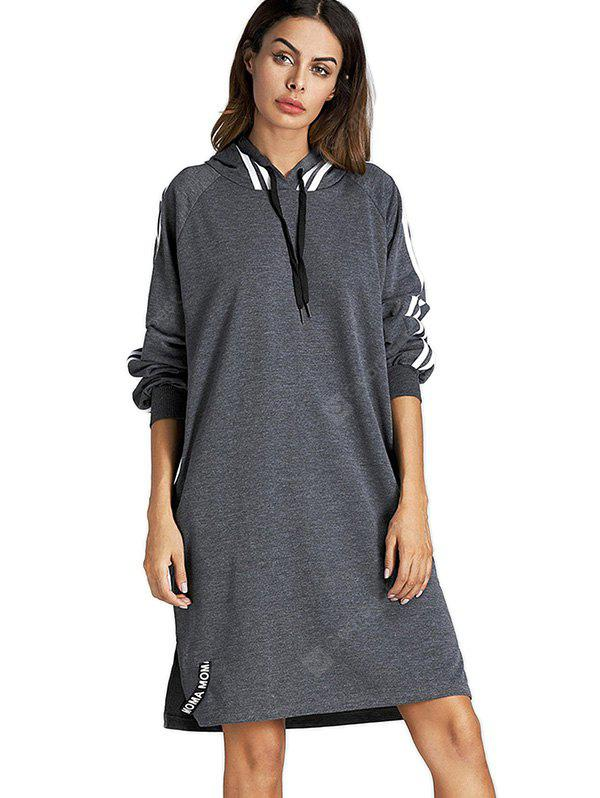 Long Raglan Sleeves Striped Loose Hoodie
