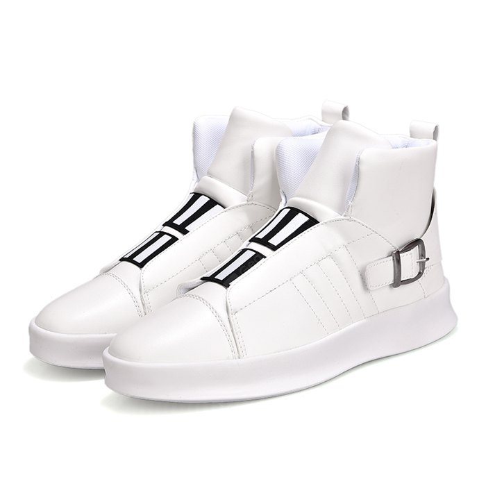 WHITE 40 Male Street Trendy High Top Casual Skateboarding Shoes