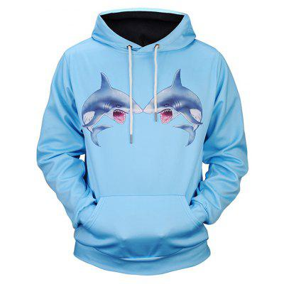 Fashion Two Sharks Printing Hoodie Sweatshirt