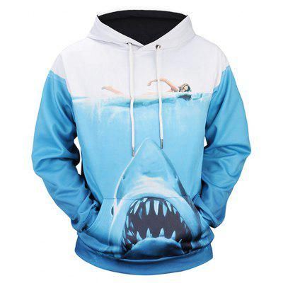 Fashion Shark Printing Hoodie Sweatshirt