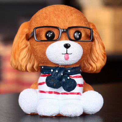 Resin Piggy Bank with Lovely Wearing Glasses Dog Style