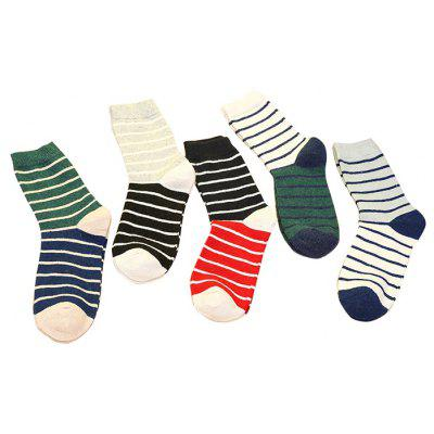 5 Paired Stripe Pattern Breathable Sweat Absorption Socks for Men