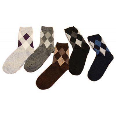 5 Paired Thicken Keep Warm Male Prismatic Pattern Socks