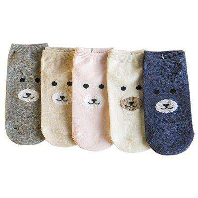 5 Paired Women Cute Cartoon Bear Pattern Breathable Ankle Socks