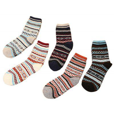 5 Paired Geometric Pattern Thicken Keep Warm Female Socks