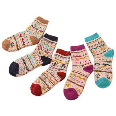 5 Paired Breathable Thicken Keep Warm Female Socks