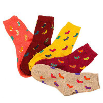 5 Paired Women Adorable Warm Socks