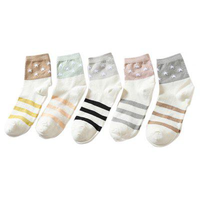 5 Paired Women Autumn Winter All-match Deodorant Crew Socks