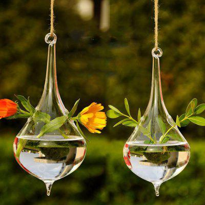Water Drop Shape Hanging Hydroponic Decor Vase 1pc