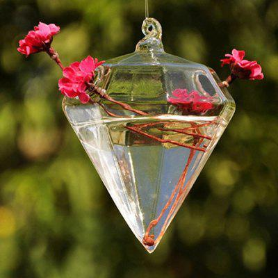 Creative Glass Diamond Shape Hydroponic Hanging Vase