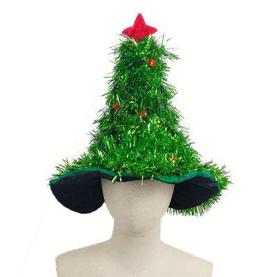 novelty christmas tree hat with garland and gold star - Christmas Tree With Garland