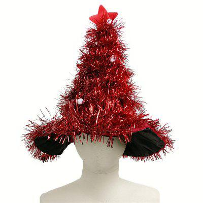 Novelty Christmas Tree Hat with Garland and Gold Star