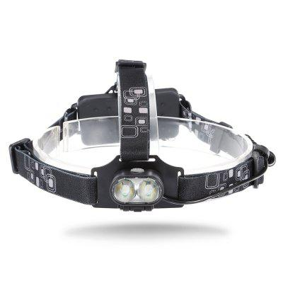 Buy BLACK 20W 6000K 800lm 2 XML T6 LED Headlamp Battery Included for $13.96 in GearBest store