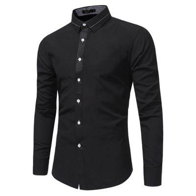 WSGYI Male Elegant Long Sleeve Pure Color Shirt