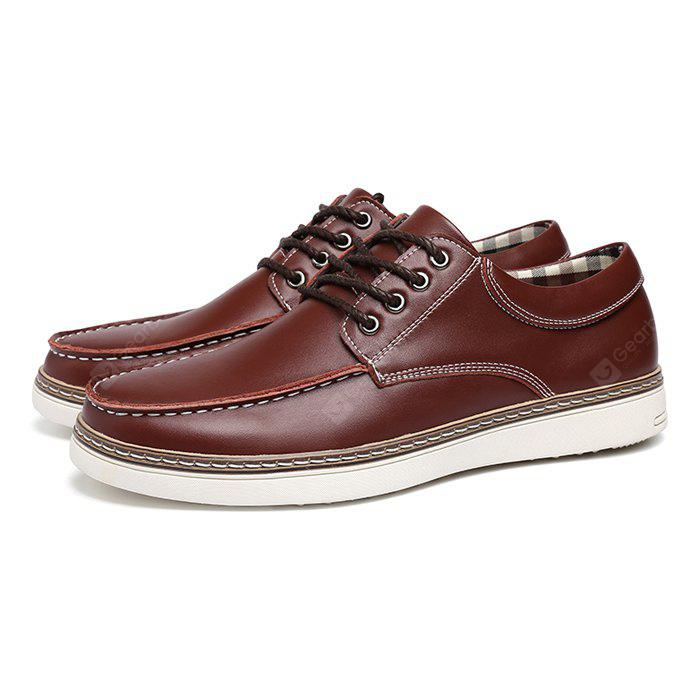 Masculino Nostalgic Soft British Plaid Casual Leather Shoes